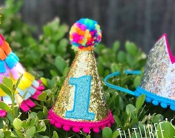 1st Birthday Hat Glitter Half Cake Smash Party 2nd