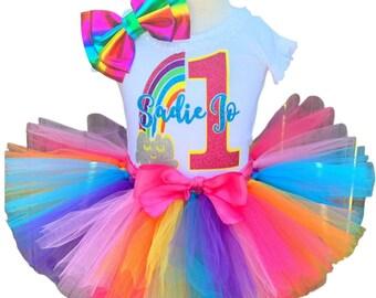 Rainbow Birthday Tutu Outfit-Golden Rainbow Birthday Tutu Set-Rainbow and Gold Birthday Tutu Outfit-Rainbow Baby Birthday *Bow NOT Included*