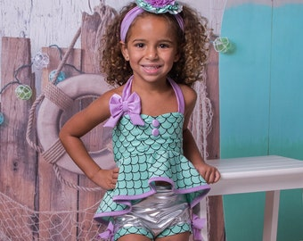 7290a7f1a8 Retro Hi-Lo Tankini   High Waisted Trunks in Mermaid  2018 Collection (Size  12 18 months - 12) Restocked!!!