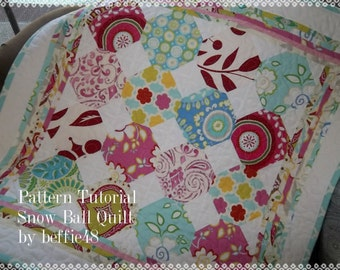 Snow Ball Baby Quilt Pattern Tutorial, pdf, w Photos