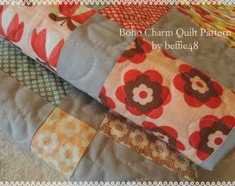 Boho Charm Pack EASY Quilt Pattern Tutorial with photos, pdf,