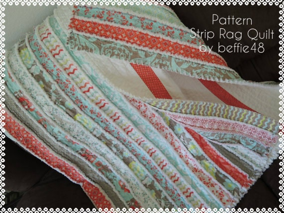 Jelly Roll Rag Quilt Pattern Tutorial Easy To Make Instant Etsy
