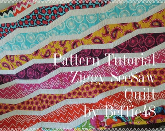 Ziggy SeeSaw Quilt Tutorial, Instant Download