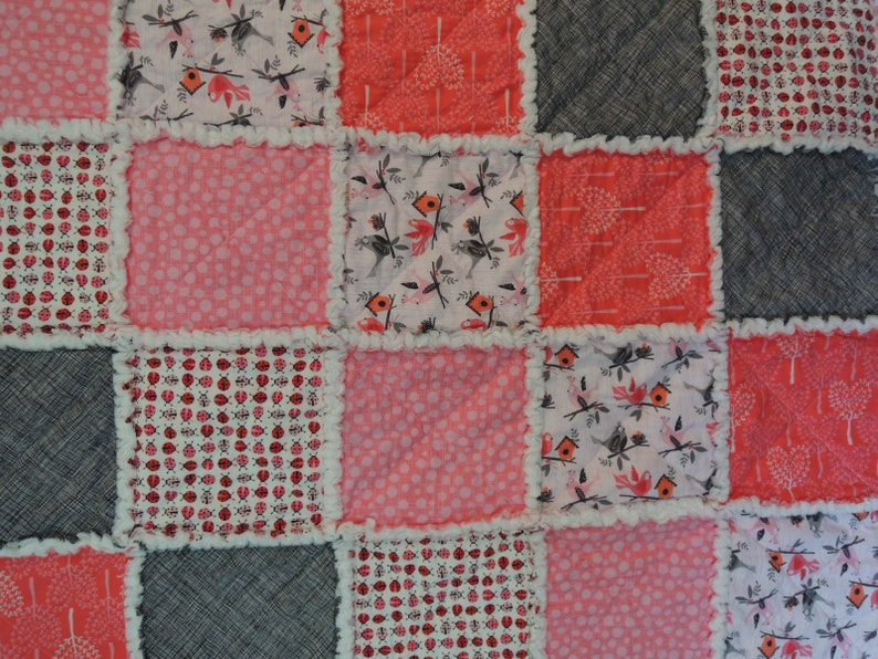 Easy to Make Optional Sewing Available Lady Bug Rag Quilt Kit Personalized Bin A