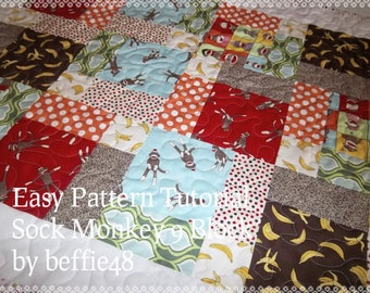 Sock Monkey Magic 9 Block Baby Quilt, Pattern Tutorial, pdf file w photos