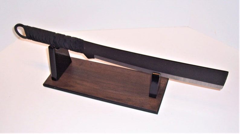 Gloss Black Uprights Satin Mahogany Melamine Base Machete Display Stand