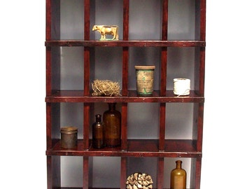 Pigeon Hole Cubby Cabinet / Postal Mail Cabinet / Collection Display Cabinet  / Divided Storage / 16 Cubby Storage / Vintage Inspired Cabinet