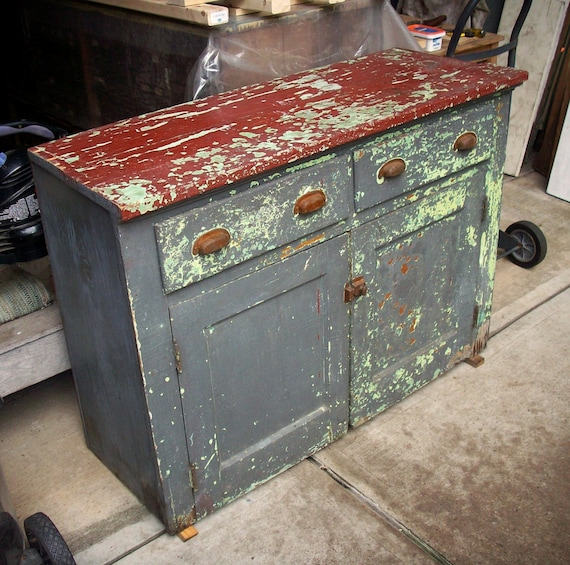 Painted Wood Furniture And Cabinets: Vintage Painted Wood Cabinet / Heavily Distressed / Layers Of