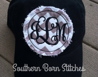 Ladies Monogrammed baseball cap circle raggy patch hat chevron hat womens  personalized embroidered cap 2e613f40eb8c