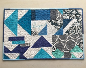 Improvised Geometric Shades of Blue Table Runner - Free Shipping - FREE MASKS with purchase