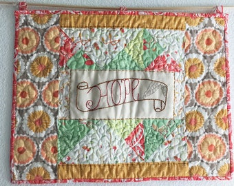 Hope Embroidered Mini Art Quilt - free shipping
