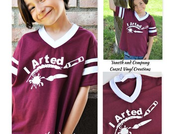 I Arted Kids T-shirt,Art kids t-shirt,Fun Art kids tshirt,custom art kids T-shirt,Paint brush and crayon I arted tshirt,Maroon and white