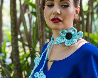 Aqua Blue Polymerclay Fringe Chocker Lariat Jewellery