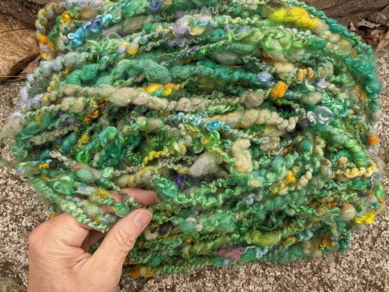 Handspun art yarn wool kid mohair Shamrock Garden rainbow soft image 0