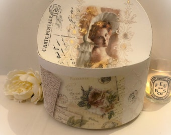 Parisian  French style decorative storage box hand painted vintage feel