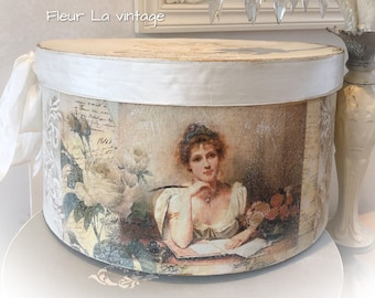 Large Boudoir Beige color vintage lady  shabby chic hat box storage french look