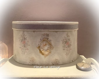 Parisian french country  Decorative storage box oval brocade- vintage feel