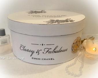 Parisian style Antique white color  hat box storage french style nostalgia