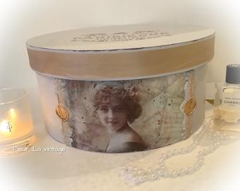 Parisian style faded grey  color  vintage lady  storage hat box french look nostalgia boudoir