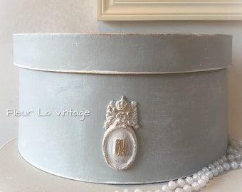 Parisian  faded grey French style decorative storage hat box hand painted vintage feel