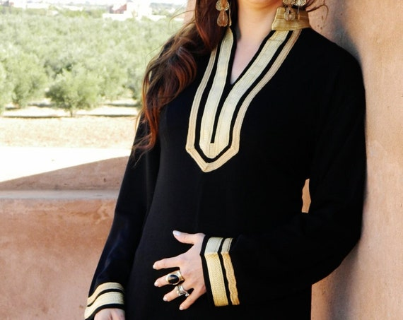 Autumn Mariam  Black Caftan Kaftan - giftswear,resortwear,spa robe, dress, Birthdays or Maternity Gifts, Ramadan, loungewear