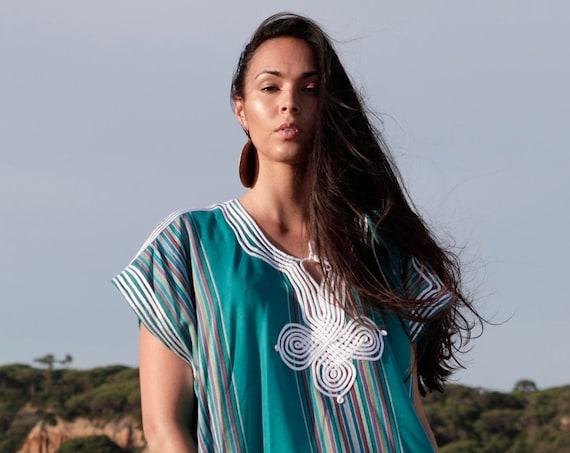 Summer Teal, Turquoise Green Caftan Kaftan loungewear, as beachwear,beach cover ups, maternity wear, gifts,  beach weddings, Eid, dress