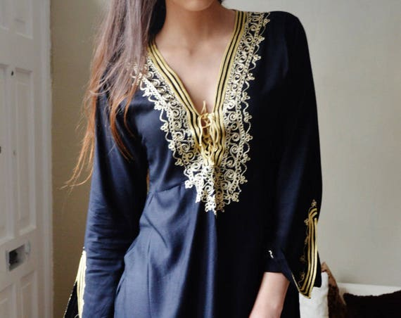 Spring   Tunic Black with Gold Embroidery Traditional Marrakech Tunic Dress - Casual wear, loungewear, resortwear, Ramadan, Eid