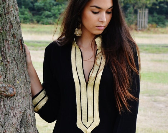 Autumn Trendy Tunic with Golden Embroidery Mariam- perfect  resort wear, boho wear, as birthday gifts, black boho tunic, dress