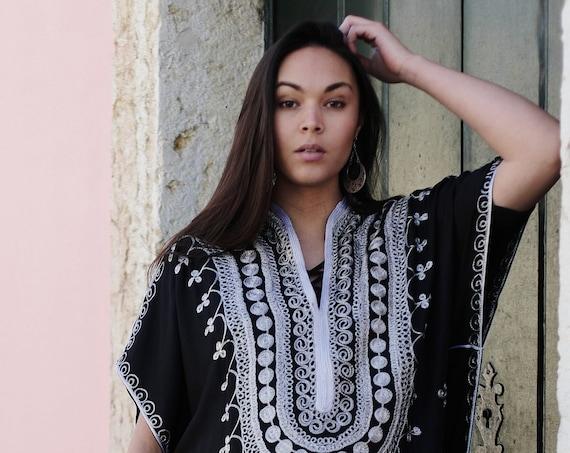 Black Caftan Kaftan Berber -Lounge wear,resort kaftan, baby shower gifts, maternity kaftan,nursing gown, mom's to be, maxi dress,maternity