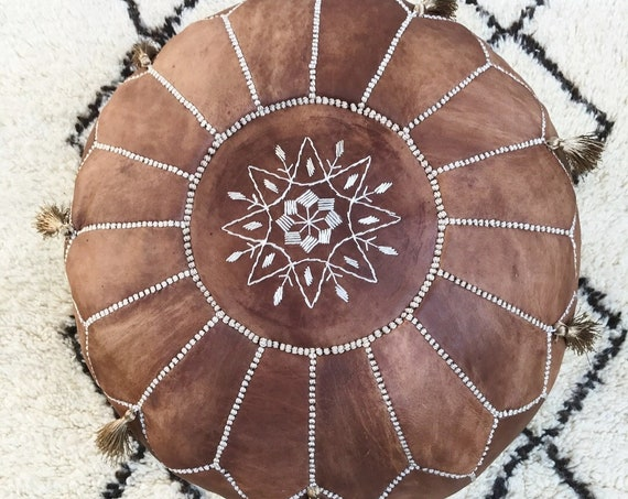 30% OFF POUF Sale >Tan Brown Moroccan Leather Pouf Tassels>Pouffe,Foot Stool,wedding gifts,home decor, ottoman,  gifts,,,Easter