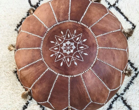 30% OFF SALE //Tan Brown Moroccan Leather Pouf Tassels & Pompoms >> Home gifts, wedding gifts, anniversary gifts, Cushion,  gifts