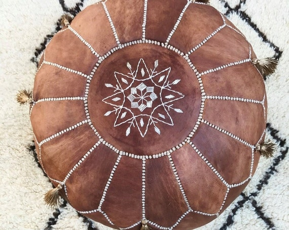 Best Autumn 20% OFF Pouf Sale>Tan Brown Moroccan Leather Pouf Tassels & Pompoms>decor, wedding gift,foot stool, gift,Easter