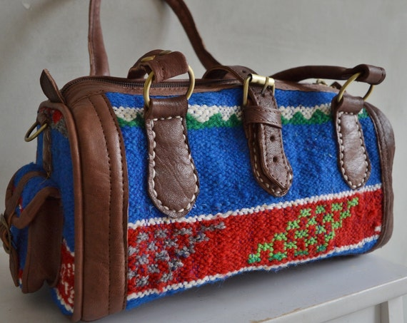 Christmas Autumn Finds Moroccan Blue Kilim Leather Satchel Cross Shoulder Straps Berber style-bag, tote, handbag, purse, gifts, handbag