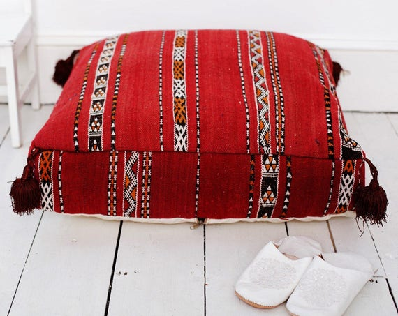 30% Off Sale Home Gift | Vintage Kilim Moroccan Floor Cushion Pouf -home gifts, wedding gifts, anniversary gifts, s, , Eid,,winter sale