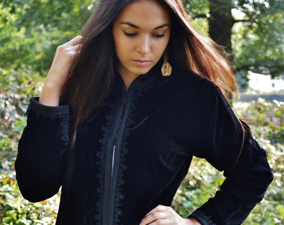 25% OFF Autumn Sale// Black Velvet Luxury Jacket Black Embroidery-Nadia-bohemian, Autumn jacket,  velvet jacket, embroidered jacket,