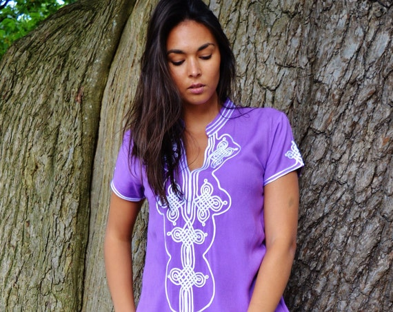 Christmas winter gifts | Purple Lilac Aisha Short Sleeve Boho Trendy Caftan Kaftan -resortwear, , Wedding, Maternity, winter dress
