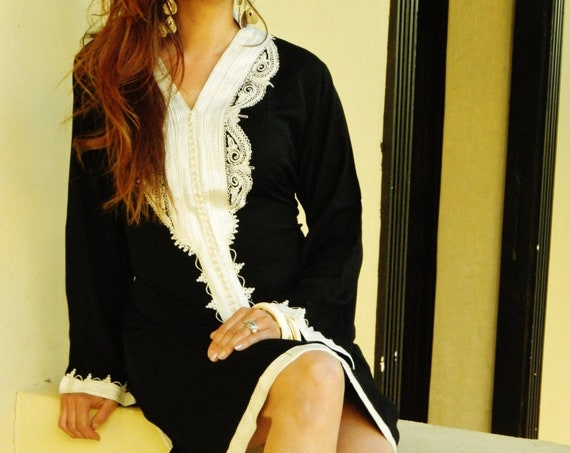 Black Marrakech Dress with White  mother's day, resort wear, holiday wear, birthday gifts, resort wear, party,casual dress, Ramadan, Eid