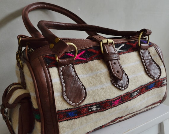 Summer Trendy Summer Finds Berber Design Kilim Leather Satchel Cross Shoulder Straps Berber style-bag, tote, handbag, purse, gifts no. 2