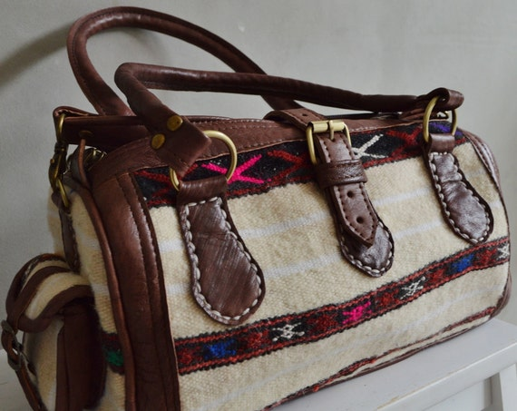Autumn Trendy Winter Finds Berber Design Kilim Leather Satchel Cross Shoulder Straps Berber style-bag, tote, handbag, purse, gifts no. 2