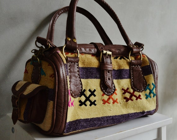Trendy Winter Finds Berber Design Kilim Leather Satchel Cross Shoulder Straps Berber style-bag, tote, handbag, purse, gifts, , Eid,