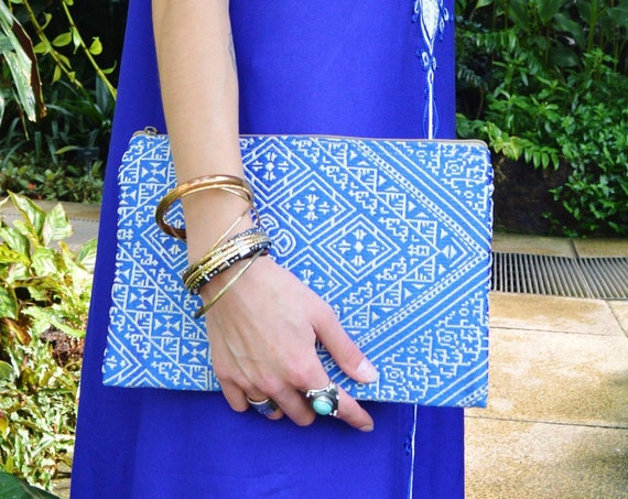 Christmas Gift Ideas, Moroccan Blue Pattern Fabric Hand Clutch Berber style-bag, tote, handbag, purse, holiday gifts, gifts for her,No.2