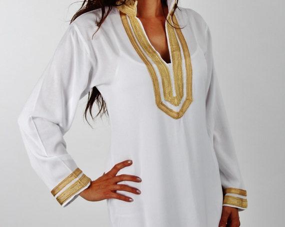 Mariam Style White Moroccan Caftan Kaftan- Perfect as loungewear, as beachwear, , gifts, beach cover up, wedding gifts,boho,winter sale