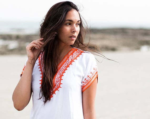 White Orange Tunic Dress Summer Dress -Lena -women's dresses, bohemian, resortwear, holiday wear, gifts, beach wear, bohemian,beach kaftan
