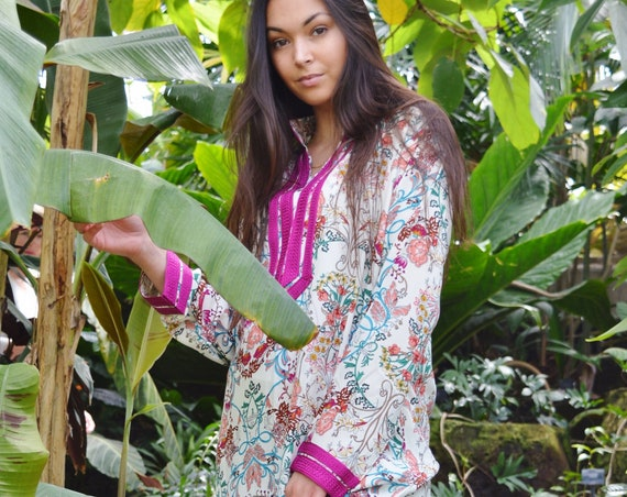 Autumn Floral Mariam Style Caftan Kaftan - loungewear,resortwear, beach kaftan, moroccan dress, holiday kaftan, maxi dress, boho dress