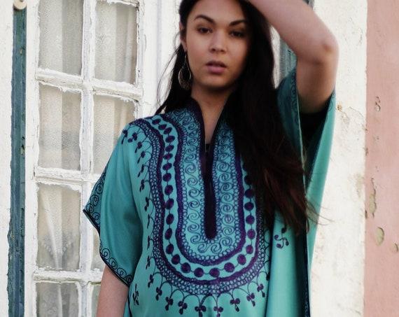 Summer Turquoise Blue Summer Caftan Kaftan Berber -Lounge wear,resort kaftan, baby shower gifts,maternity kaftan, gifts, maxi dress,Ramadan