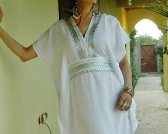 White Resort Caftan Marine - beachwear, loungewear, maternitywear,perfect  honeymoon, birthday gifts  her,summer dress,beach kaftan,, lounge
