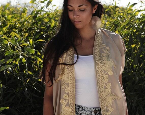 NEW Beige Gold Marrakech Stay Home Kimono-Spring kimono, Jacket,Beach Kimono, Moroccan kimono, robe, gown, boho kimono, birthday gifts