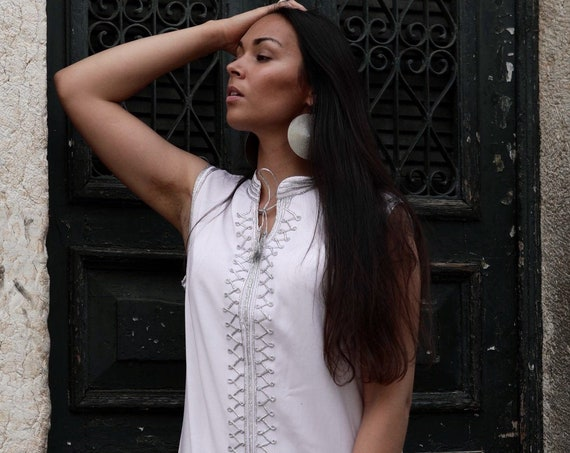 Kaftan//White Silver Kaftan -Zizi Caftan,Lounge Dress,  Dress, Bohemian Clothing, Maternity Dress, beach, stay home wear