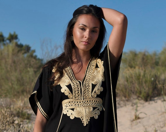 30% OFF SALE//Moroccan Kaftan Black & Gold Marrakech Resort Caftan-beach cover up,resortwear,loungewear,maxi dress, gifts, maternity, lounge