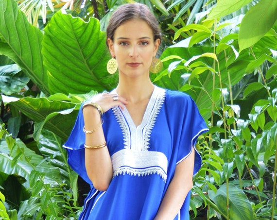 Autumn Blue Dress Caftan Kaftan Maxi Dress Marine-resort kaftan, beach kaftan,lounge kaftan, , maternity, Autumn dress, , Eid,Autumn dress